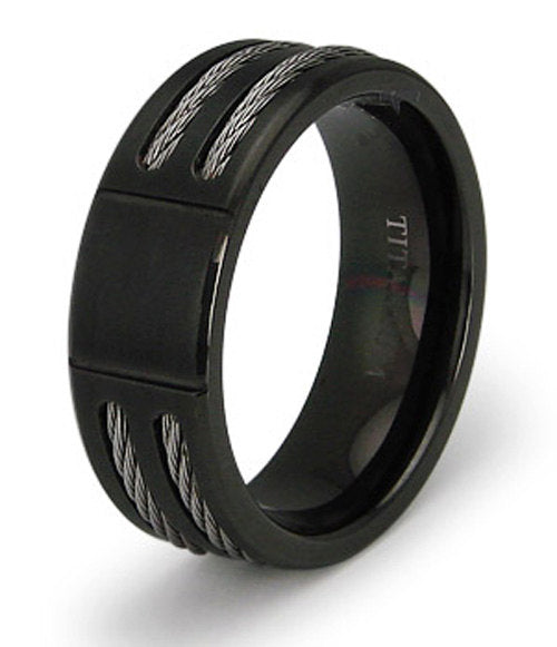 Black Titanium Wedding Ring Band Cable Inlay Engraved Personalized