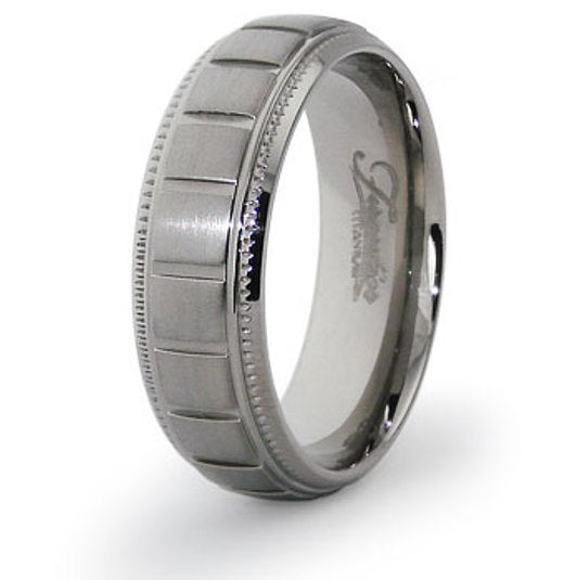 Titanium Wedding Ring Band Classic Grooved Pattern Engraved Personalized