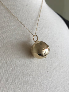 14k Yellow Gold Globe World Travel 3D Pendant Charm