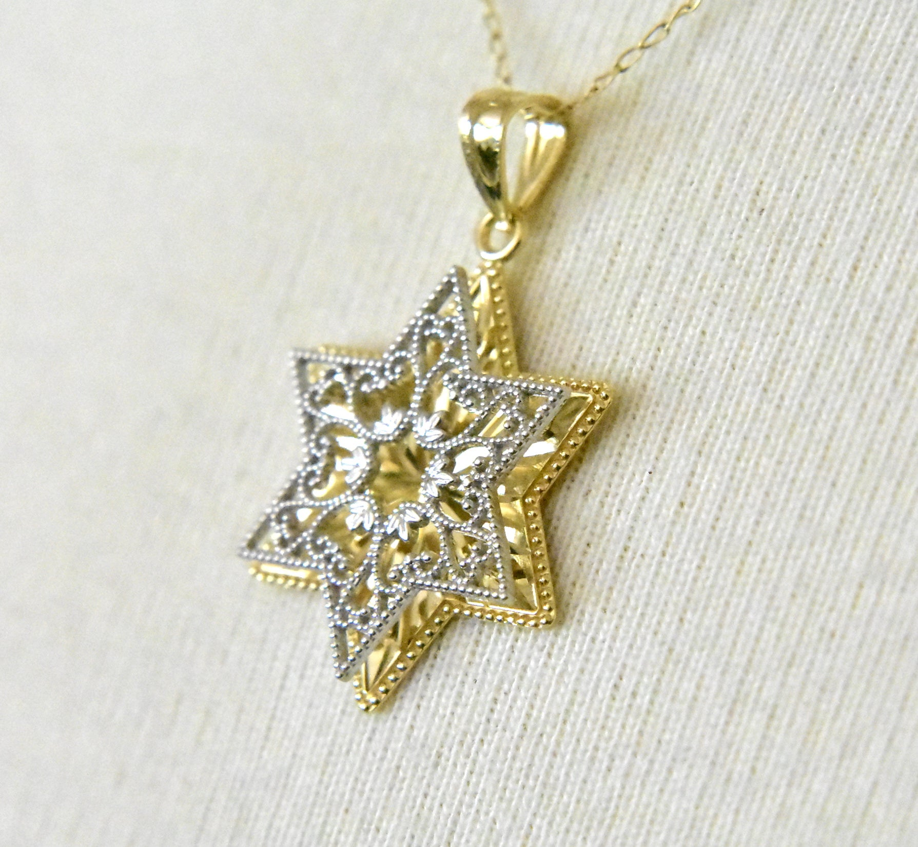 14k Gold Two Tone Star of David Reversible Pendant Charm
