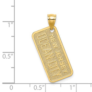 14k Yellow Gold Ocean City New Jersey License Plate Pendant Charm