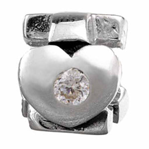 Authentic Silverado April Birthstone Cubic Zirconia Heart Silver Bead Charm