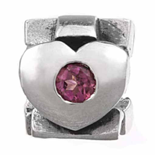 Authentic Silverado October Birthstone Pink Tourmaline Silver Bead Charm