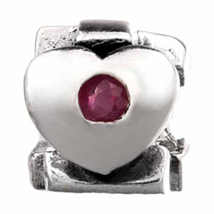 Authentic Silverado July Birthstone Ruby Heart Silver Bead Charm