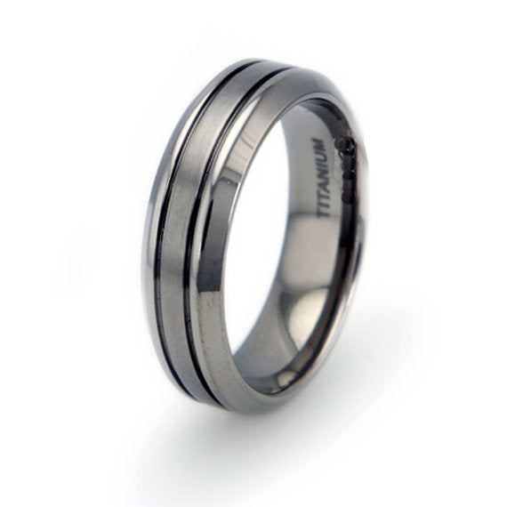 Titanium Wedding Ring Band Modern Contemporary Engraved Personalized