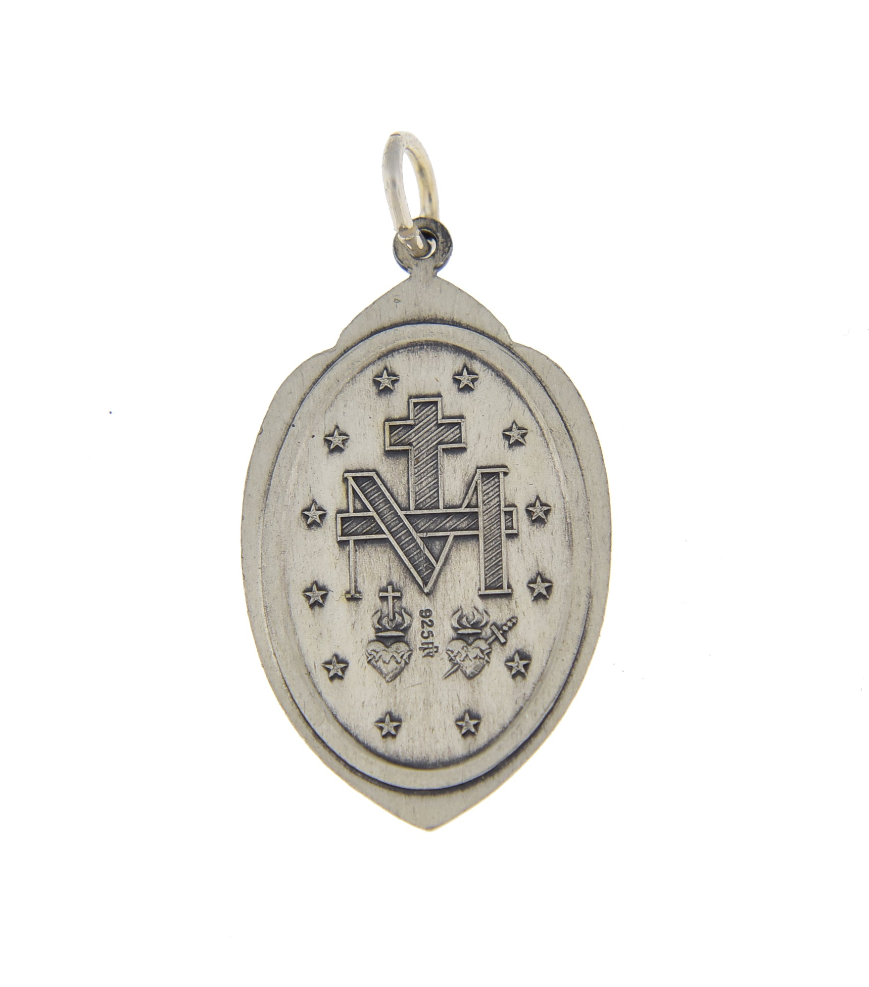 Sterling Silver Blessed Virgin Mary Miraculous Medal Pendant Charm