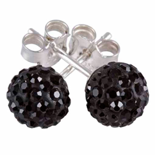 Authentic Silverado Silver Black Cubic Zirconia CZ 7mm Ball Stud Earrings