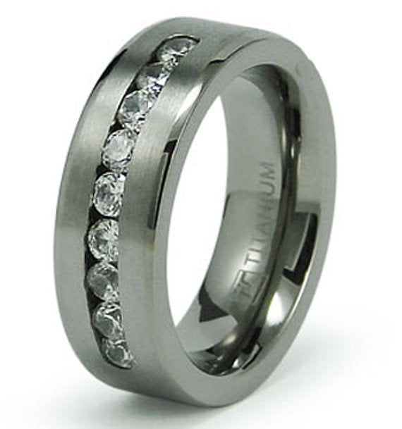 Titanium Classic Cubic Zirconia CZ Wedding Ring Band Engraved Personalized