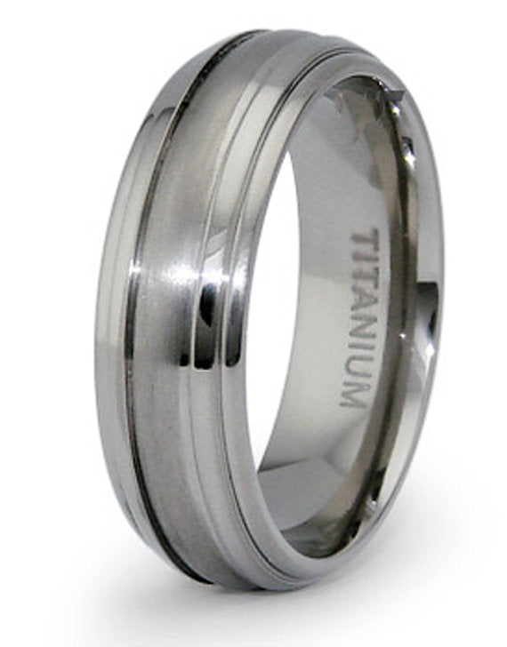 Titanium Wedding Ring Band Classic Engraved Personalized