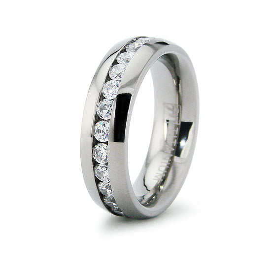 Titanium Classic Eternity CZ Wedding Ring Band Engraved Personalized