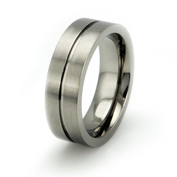 Titanium Brushed Wedding Ring Band Modern Contemporary Engraved Personalized