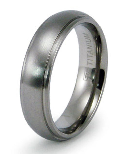 Titanium Wedding Ring Band Modern Classic Engraved Personalized