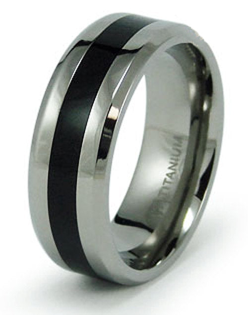 Titanium Wedding Ring Band Black Resin Inlay Engraved Personalized