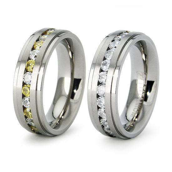 Titanium Wedding Ring Band Eternity with CZ Engraved Personalized