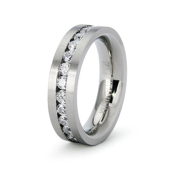 Titanium Classic Eternity Cubic Zirconia CZ Wedding Ring Band Engraved Personalized