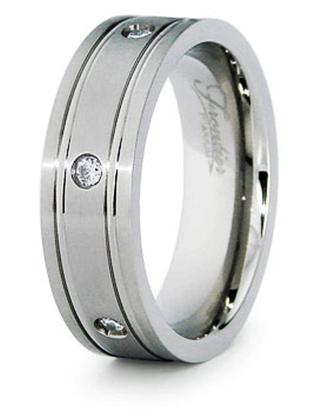 Titanium Wedding Ring Band Grooved with CZ Engraved Personalized
