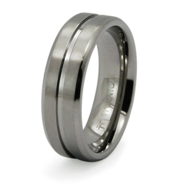 Titanium Wedding Ring Band Grooved Engraved Personalized