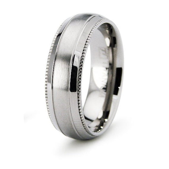 Titanium Wedding Ring Band Classic Milgrain Pattern Engraved Personalized