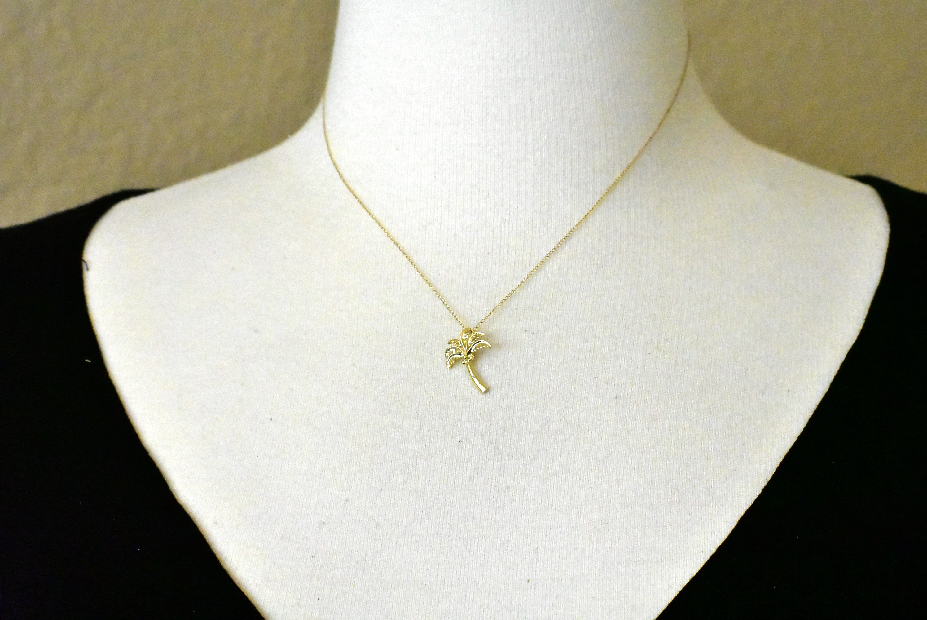 14k Yellow Gold Coconut Tree Chain Slide Pendant Charm