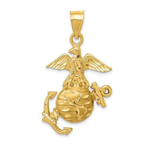 14k Yellow Gold US Marine Corps Open Back Pendant Charm