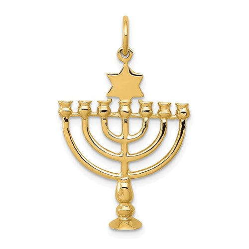 14k Yellow Gold Menorah 3D Pendant Charm