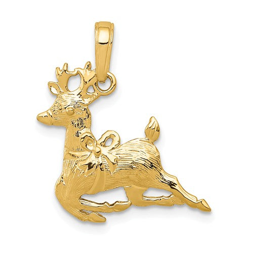14k Yellow Gold Reindeer Christmas Pendant Charm
