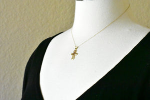 14k Gold Two Tone Cross Awareness Ribbon Pendant Charm