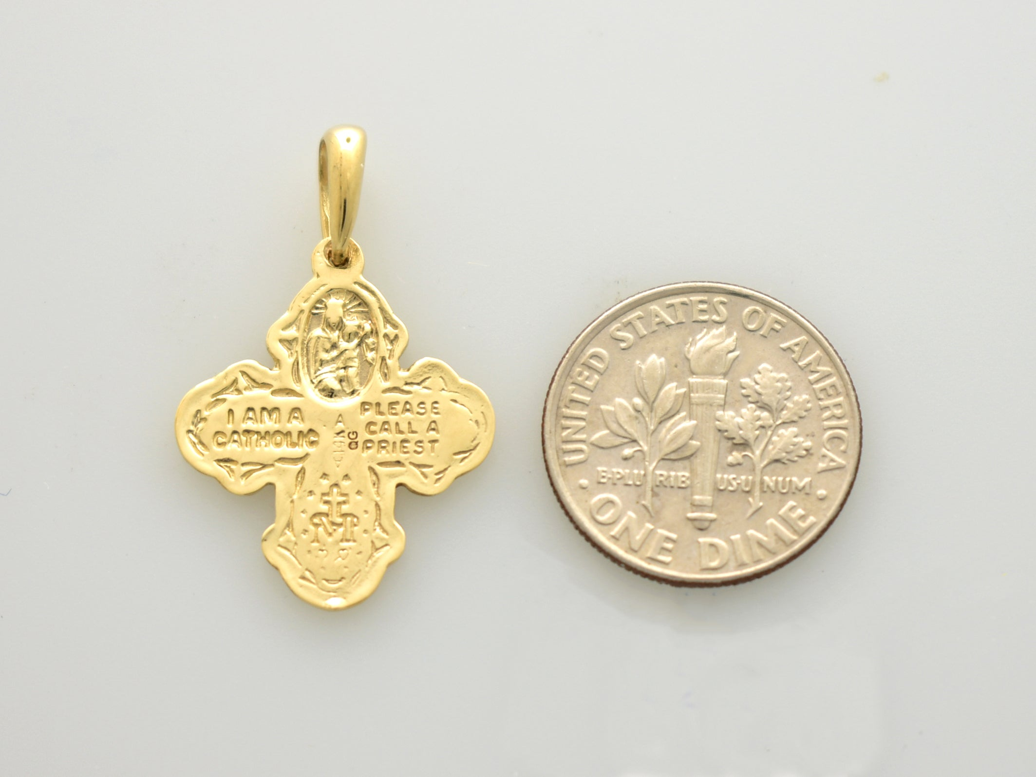 14k Yellow Gold Cross Cruciform Four Way Medal Pendant Charm