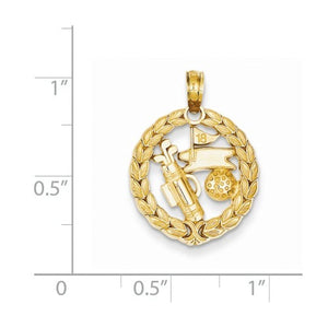 14k Yellow Gold Golf Golfing Theme Sports Pendant Charm