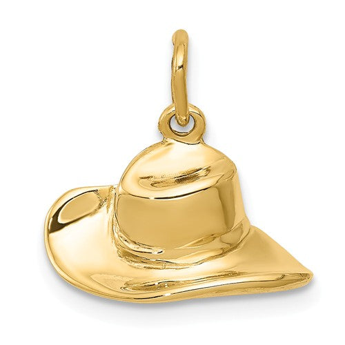 14k Yellow Gold Cowboy Cowgirl Hat Pendant Charm