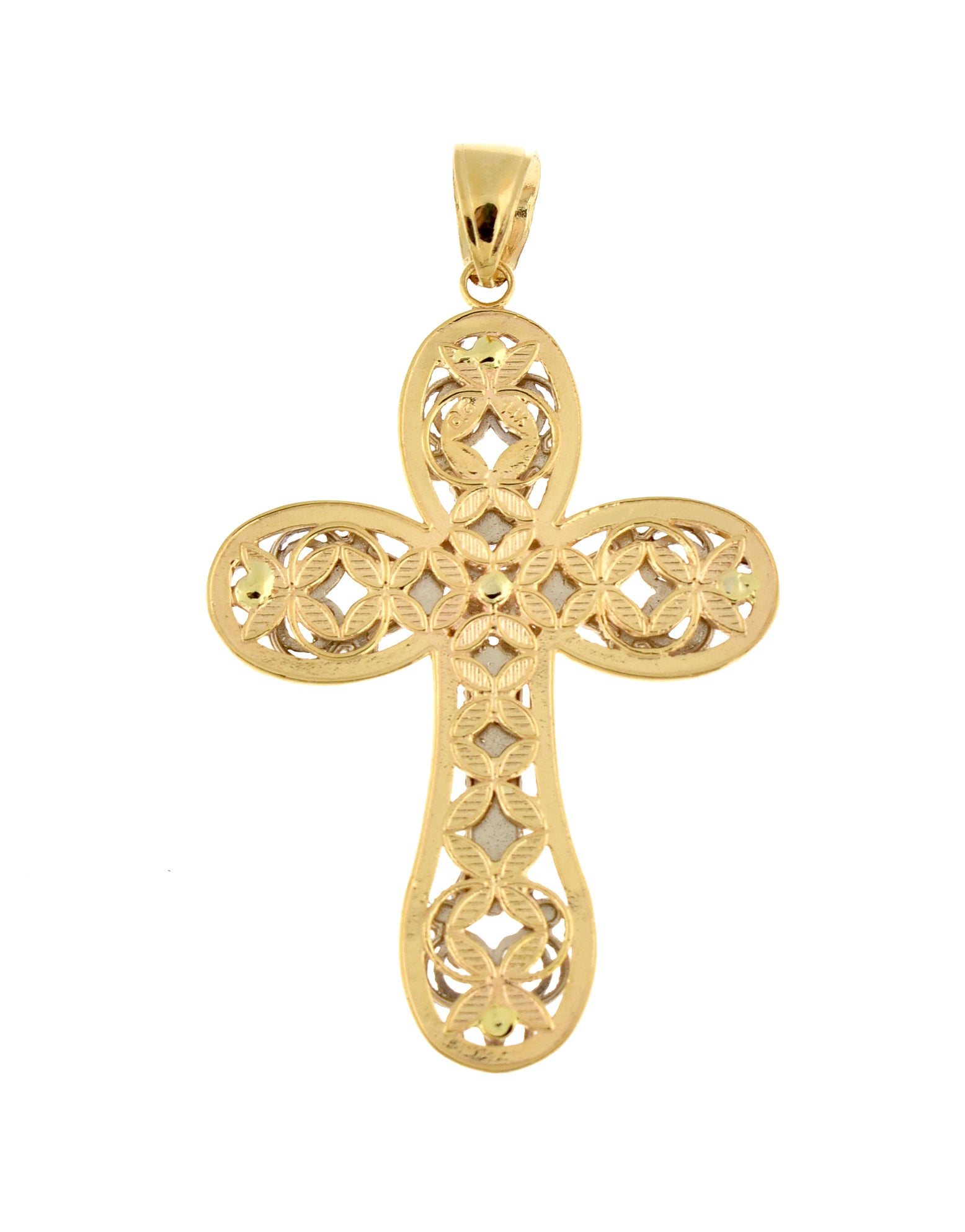 14k Gold Two Tone Large Fancy Latin Cross Pendant Charm