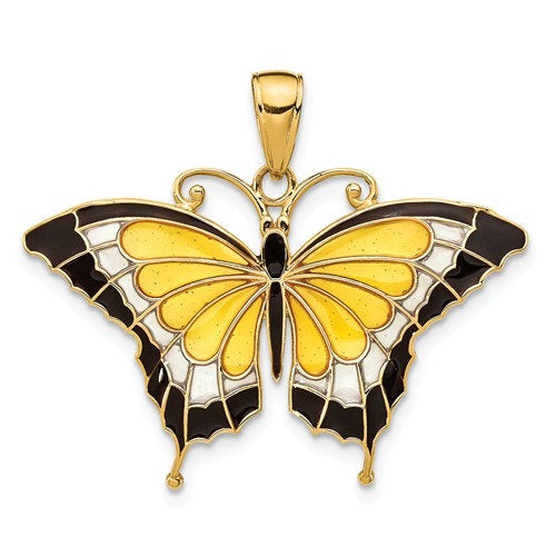 14k Yellow Gold with Enamel Yellow Butterfly Pendant Charm