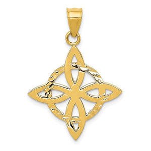 14k Yellow Gold Celtic Knot Trinity Pendant Charm