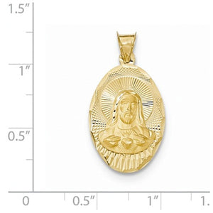 14k Yellow Gold Sacred Heart of Jesus Oval Pendant Charm