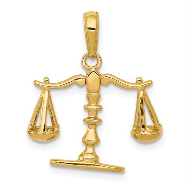 14k Yellow Gold Justice Moveable Scales 3D Pendant Charm