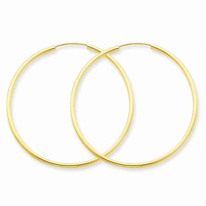 14K Yellow Gold 36mm x 1.5mm Endless Round Hoop Earrings