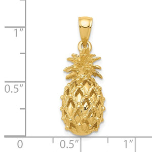 14k Yellow Gold Pineapple 3D Cut Out Pendant Charm
