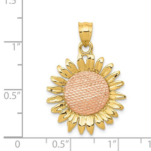 14k Gold Two Tone Sunflower Pendant Charm
