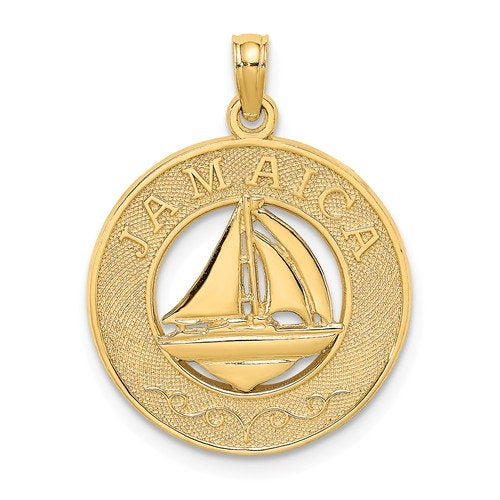 14k Yellow Gold Jamaica Island Sailboat Travel Pendant Charm