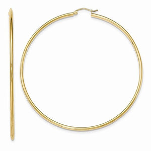 14K Yellow Gold 75mm x 2mm Classic Round Hoop Earrings