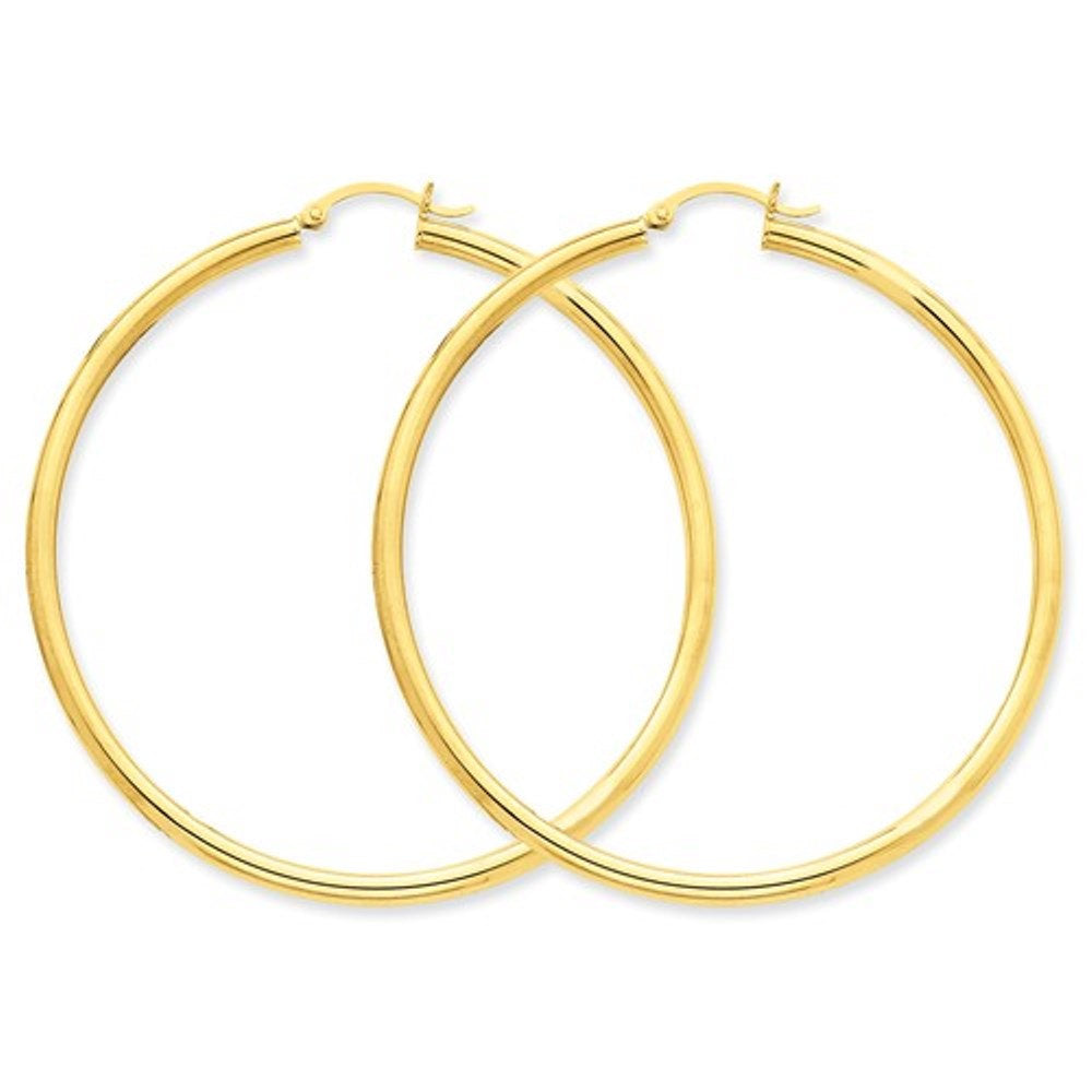 14K Yellow Gold 60mm x 3mm Classic Round Hoop Earrings