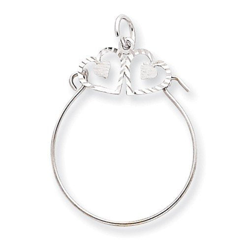 10K White Gold Double Heart Satin Finish Charm Holder Pendant