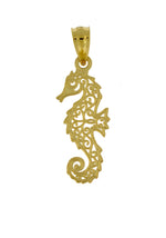 Load image into Gallery viewer, 14k Yellow Gold Seahorse Filigree Small Pendant Charm