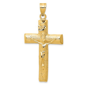 14k Yellow Gold Cross Crucifix Extra Large Pendant Charm