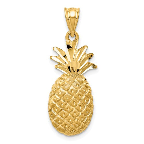 14k Yellow Gold Pineapple Open Back Pendant Charm