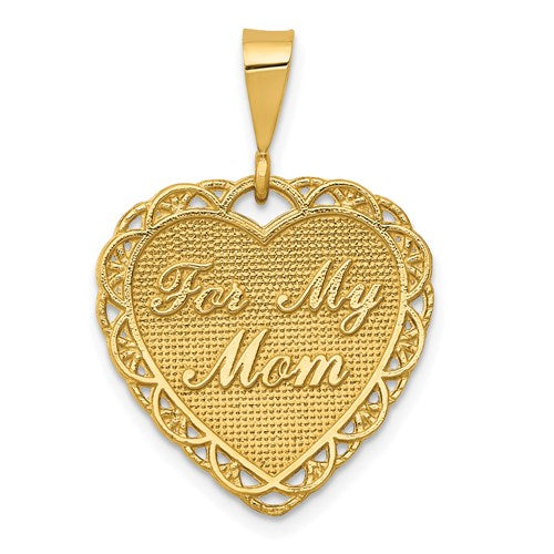 14K Yellow Gold For My Mom Heart Pendant Charm