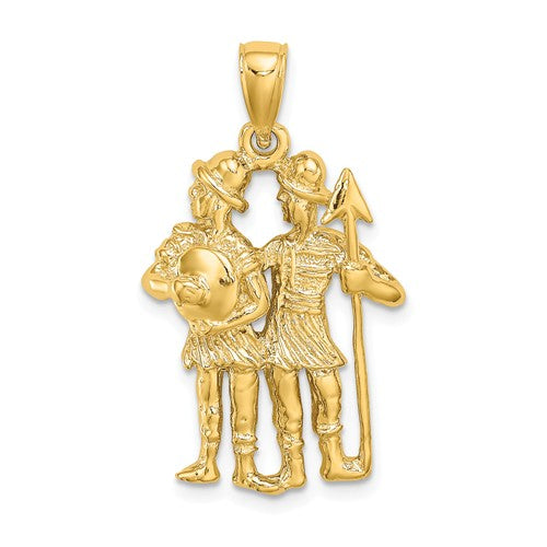 14k Yellow Gold Gemini Zodiac Horoscope Large Pendant Charm