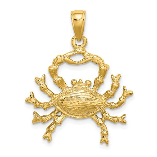14k Yellow Gold Cancer Zodiac Horoscope Large Pendant Charm