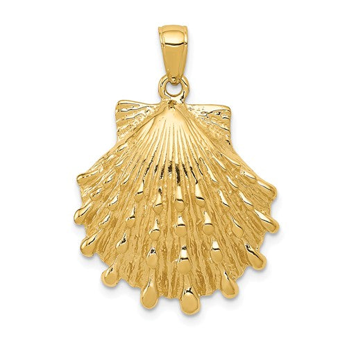 14k Yellow Gold Large Seashell Clamshell Scallop Shell Pendant Charm