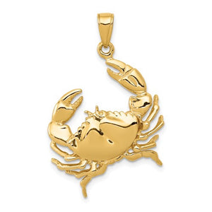 14k Yellow Gold Crab Open Back Pendant Charm